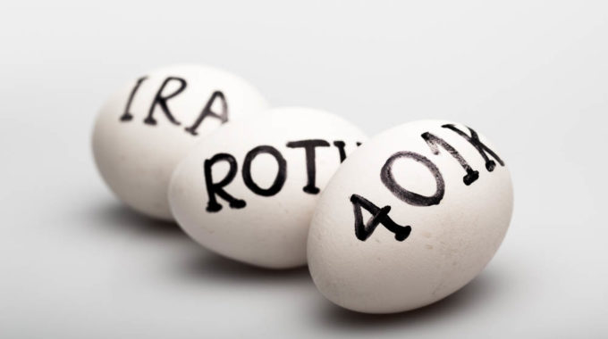 "Three Eggs With The Inscription ""Ira Roth 401K"" On Grey Background"